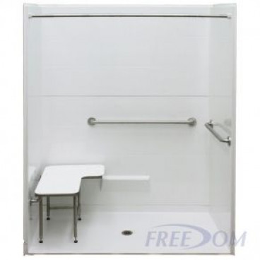 62 by 32 inch white ADA Roll In Shower Unit, 1 inch curb, center drain, 5 pcs, ID 60 x 36 inches