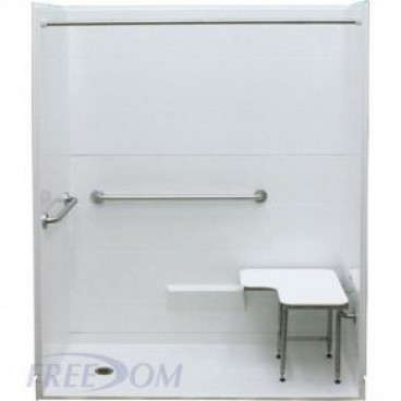 62.625 x 32.25 inches Freedom ADA Roll in Shower, LEFT Drain