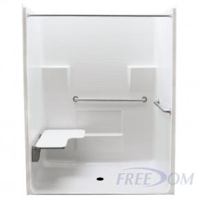 "63"" x 34"" Freedom ADA Roll In Shower, LEFT"