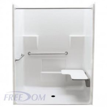 63 x 34 inches Freedom ADA Roll In Shower, RIGHT Seat