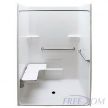 Freedom ADA Roll In Shower, Left Seat, 1 Piece, 63 x 38.5 inches