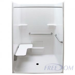 "63"" x 38½"" Freedom ADA Roll In Shower, LEFT"