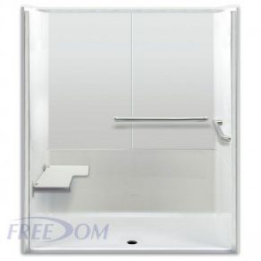"64"" x 35"" Freedom ADA Roll In Shower, LEFT"