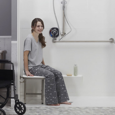ADA shower bench in the shower