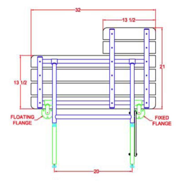 shower bench drawingseat handing diagram