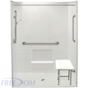 """60"""" x 31"""" Freedom Accessible Shower, Center Drain"""