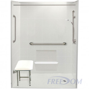 "60"" x 31"" Freedom Accessible Shower, Right Drain"