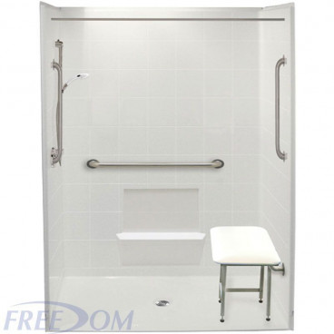 60 x 33 inch Freedom Accessible Shower package, Center Drain