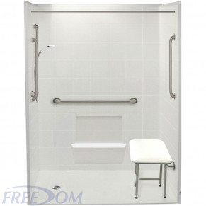 """60"""" x 33⅜"""" Freedom Accessible Shower , Left Drain"""