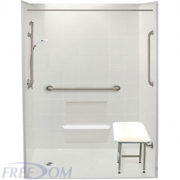 "60"" x 33⅜"" Freedom Accessible Shower Package, Left Drain"