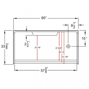6033 right drain dimensions