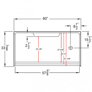 6033 right drain dimensions