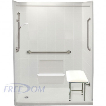 60 x 33 Freedom Easy Step Shower Package, left drain