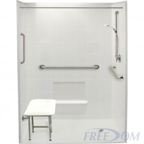 """60"""" x 37"""" Freedom Accessible Shower, Right Drain"""