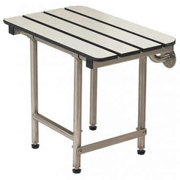 "18"" x 15"" Folding Bench with legs, Phenolic Slatted WHITE"