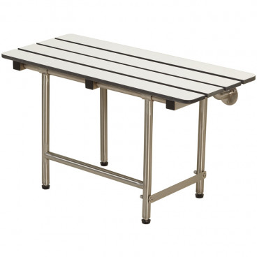 "32"" x 15"" Folding Bench with legs, Phenolic Slatted WHITE"