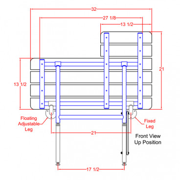 shower bench drawing seat handing diagram shows left and right