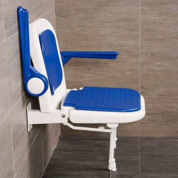 shower chair with back and arms side view arm up
