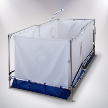 portable shower for reclining wheelchair or stretcher