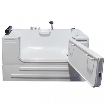 sit in tub with closed skirt open door