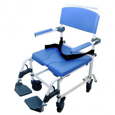 aluminum rolling shower chair with 20 inch seat