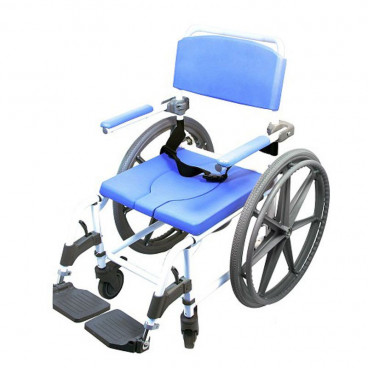 """22"""" Aluminum Rolling Shower Commode Chair with 24"""" Wheels"""