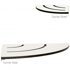 """18"""" Radius Corner Shower Seat & Shelf Combo WHITE"""