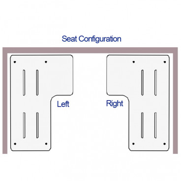 shower seat handing diagram shows left and right
