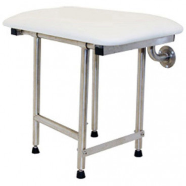 Folding Shower Bench with legs Padded WHITE