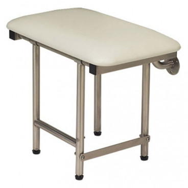 folding shower bench with legs and padded white top