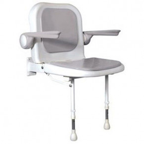 "23"" x 22¾"" Shower Chair with Back & Arms, GRAY Pad"