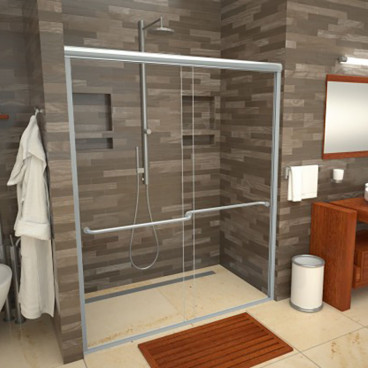 linear drain tiled shower curb free