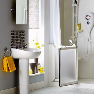 caregiver shower doors swing out