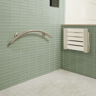 crescent style grab bar for shower