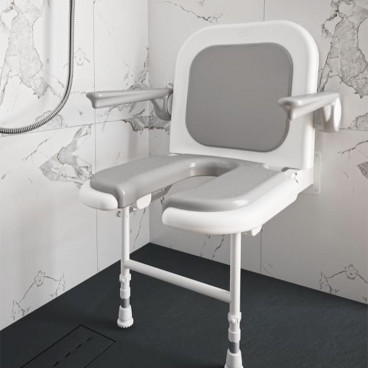wall mounted shower seat with back and arms grey