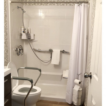 easy step shower with seat and grab bars