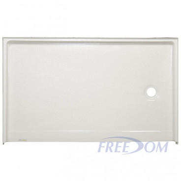 60 x 37 inch Roll In Shower Base, white, Right drain, 1 inch threshold, textured floor