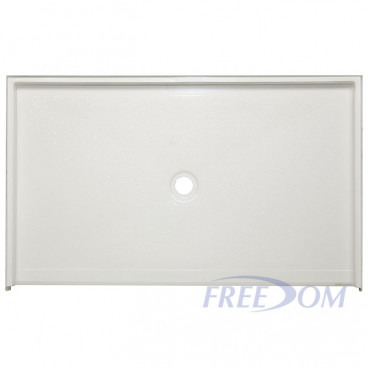 62 by 38 inch ADA Wheelchair Shower Base,White, 3/4 inch threshold, center drain. ID 60 x 36 inch