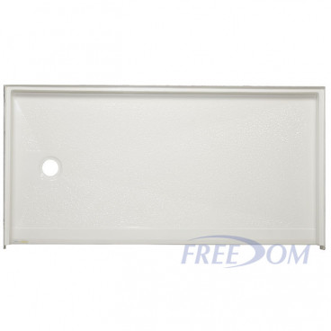 62 by 32 ADA Shower Base, white, Left drain, roll in threshold. ID 60 x 30 inches