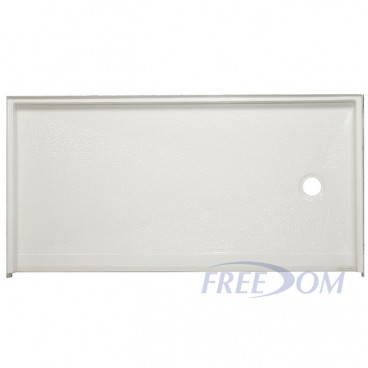 62 by 32 inch ADA Roll In Shower Pan, white, Right drain, roll in threshold. ID 60 x  30 inches