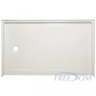 54 by 31 inch Rollin Shower Pan, white, left drain, 1 inch threshold, slip-resistant texture
