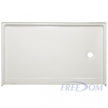 54 by 31 inch Barrier Free Shower Pan, white,1 inch threshold,  right drain, slip-resistant texture