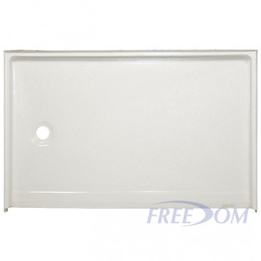 54 by 36 inch Handicapped Accessible Shower Pan, white,1 inch threshold, Left drain, textured floor