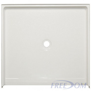 50 x 50 inch Accessible Shower Pans, white, 1 inch roll in threshold, textured floor.