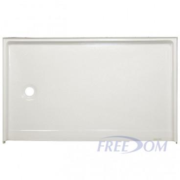 60 x 37 inch Zero Entry Shower Base, white, left drain, roll in threshold, slip-resistant floor