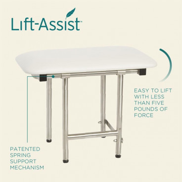 shower bench with lift assist technology details
