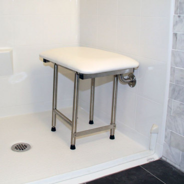 "22"" x 15"" Folding Shower Bench with legs, Padded WHITE"