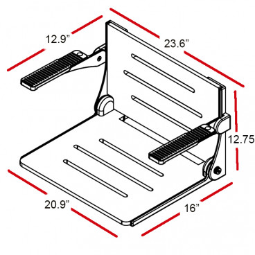 wall mounted shower seat with arms measurements