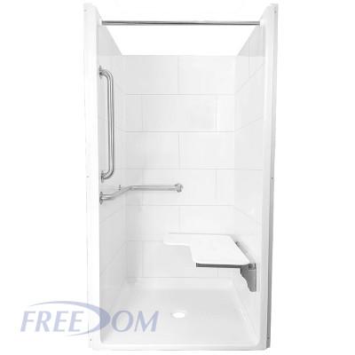 "38 ½"" x 37⅛"" Freedom ADA Transfer Shower, Left Valve wall"
