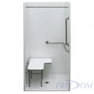 38 by 38 inch white ADA Shower Enclosure, half inch threshold, center drain, 4 piece for remodeling